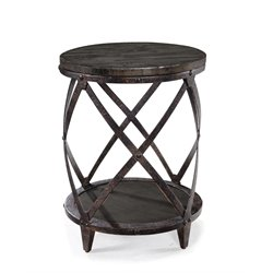 Magnussen Milford Round Accent Table in Charcoal and Gunmetal