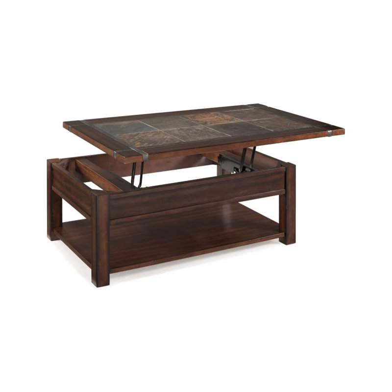Magnussen roanoke wood lift top coffee table in cherry and slate t2615 50 Lifting top coffee table