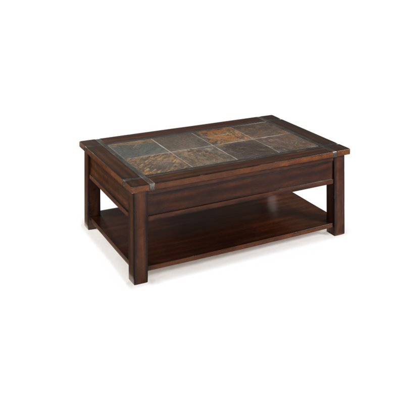 Magnussen roanoke wood lift top coffee table in cherry and slate t2615 50 Slate top coffee tables