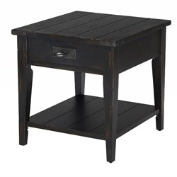 Magnussen Sheffield Wood End Table in Antique Black