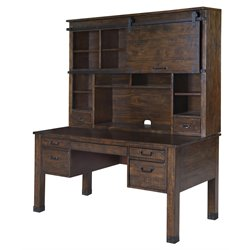 Magnussen Pine Hill Writing Desk with Hutch in Rustic Pine