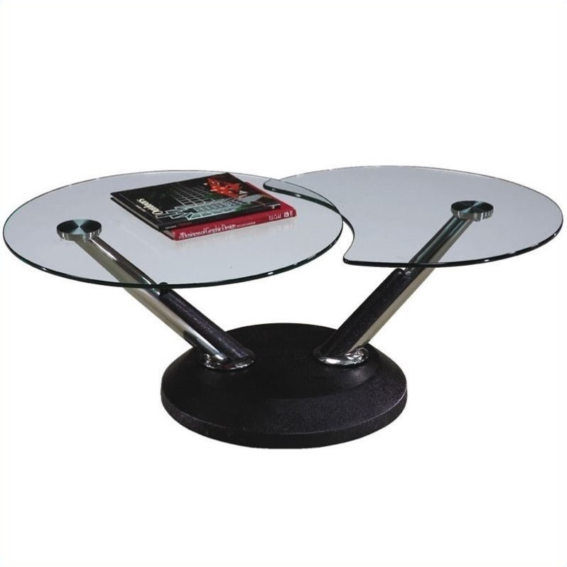 Magnussen Modesto Swivel Free Form Glass Top Cocktail Table In Black 38006