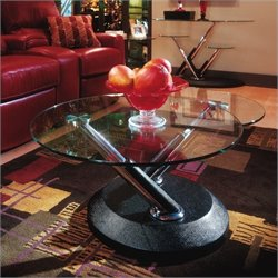 Magnussen Modesto Swivel Free Form Glass Top Cocktail Table in Black