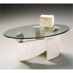 Magnussen Ponte Vedra Oval Glass Top Cocktail Table in Natural