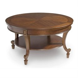 Magnussen Aidan Round Wood Cocktail / Coffee Table in Cinnamon Brown