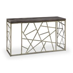 Magnussen Tribeca Console Table in Distressed Silver and Smoke Gray