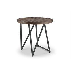 Magnussen Bixler Oval End Table in Distressed Nutmeg