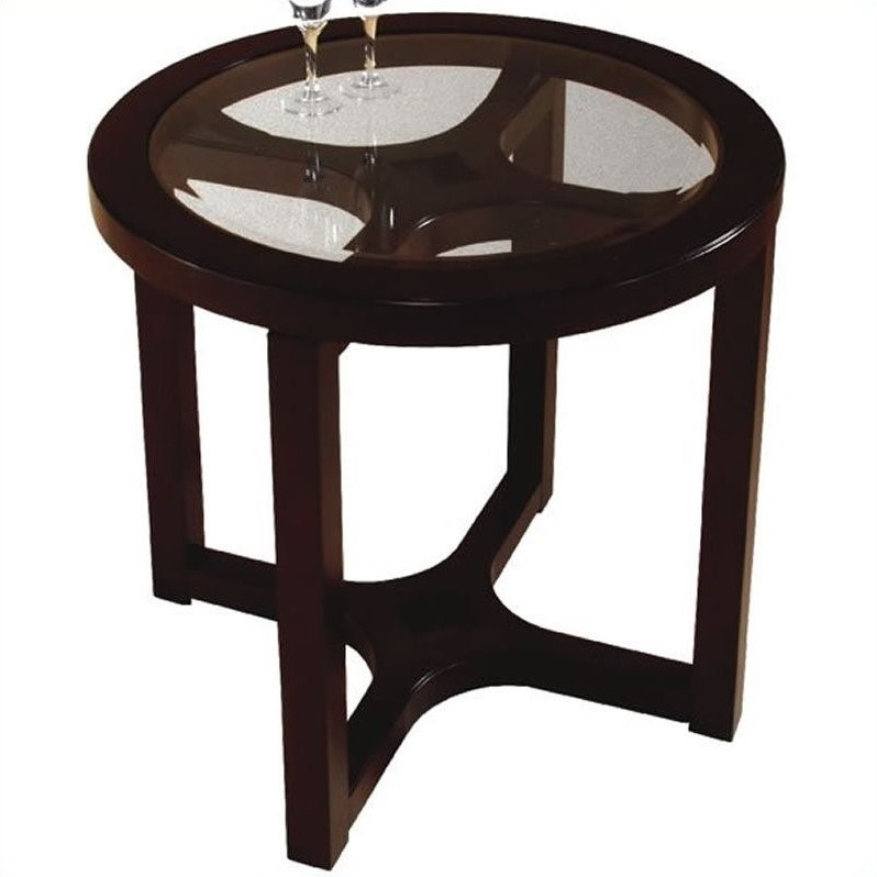 Magnussen Juniper 2 Piece Round Glass Top Cocktail Table Set in Brown