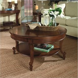 Magnussen Aidan 2 Piece Round Cocktail and End Table Set in Cinnamon