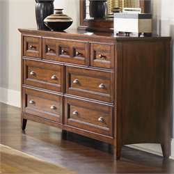 Magnussen Harrison 7 Drawer Double Dresser in Cherry Finish