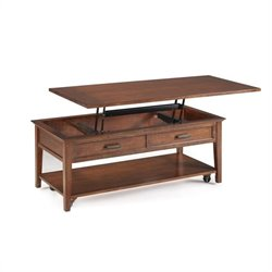 Magnussen Harbor Bay Wood Starter Cocktail Table with Faux Drawers
