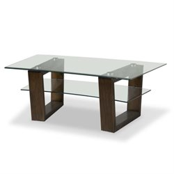Magnussen Cordoba Rectangular Glass Top Cocktail Table in Coffee Bean