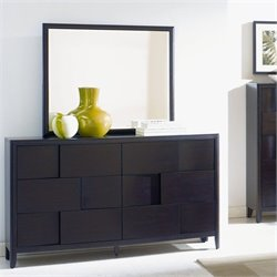Magnussen Nova Wood Dresser and Mirror in Chestnut