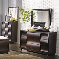 Magnussen Fuqua Dresser and Mirror Set in Black Cherry