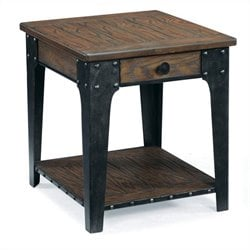 Magnussen Lakehurst Wood Square End Table in Natural Oak