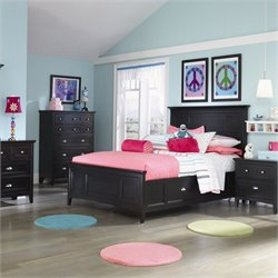 Magnussen Bennett Panel Bed with Storage Rails in Black