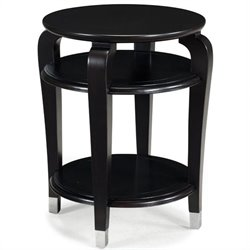 Magnussen Harper Round End Table in Ebonized Black Cherry