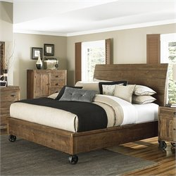 Magnussen River Ridge Wood Island Bed with Casters in Natural