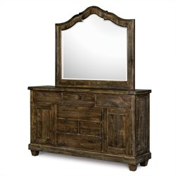 Magnussen Brenley Wood 6 Drawer Dresser and Mirror Set in Umber