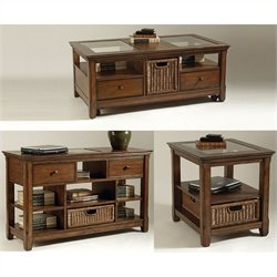 Magnussen Tanner 3 Piece Rectangular Coffee Table Set in Worn Tobacco