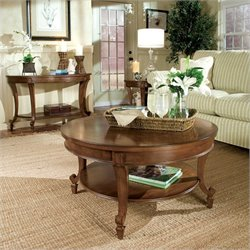 Magnussen Aidan 3 Piece Wood Accent Table Set in Cinnamon