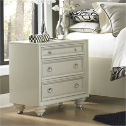 Magnussen Diamond Nightstand in High Gloss White
