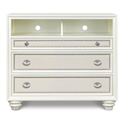 Magnussen Diamond Media Chest in High Gloss White