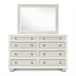 Magnussen Diamond Dresser and Landscape Mirror in High Gloss White