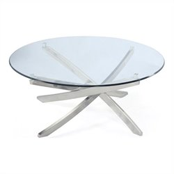 Magnussen Zila Round Cocktail Table in Chrome