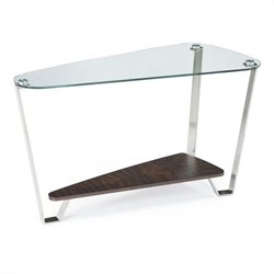 Magnussen Pollock Sofa Table in Brushed Nickel and Walnut