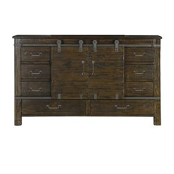 Magnussen Pine Hill 8 Drawer Sliding Door Dresser in Rustic Pine