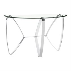 Magnussen Nico Demilune Console Table in Chrome