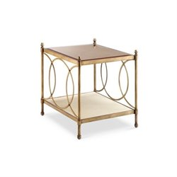 Magnussen Trey Metal End Table in Brushed Bronze