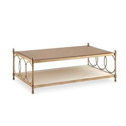 Magnussen Trey Metal Coffee Table with Casters in Brushed Bronze