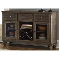 Liberty Furniture Candlewood Wine Rack Server in Weather Gray