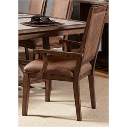 Liberty Furniture Stone Brook Upholstered Dining Arm Chair in Saddle