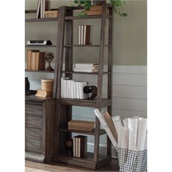 Liberty Furniture Stone Brook 6 Shelf Leaning Bookcase in Saddle