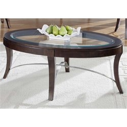 Liberty Furniture Avalon Oval Glass Top Coffee Table in Dark Truffle