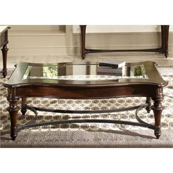 Liberty Furniture Kingston Glass Top Coffee Table in Cognac
