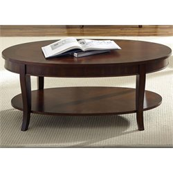 Liberty Furniture Bradshaw Oval Coffee Table in Rich Cherry
