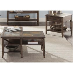 Liberty Furniture Brookstone 3 Piece Coffee Table Set in Weathered Oak