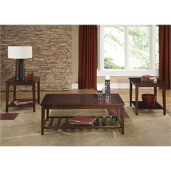 Liberty Furniture Missoula 3 Piece Coffee Table Set in Spiced Rum