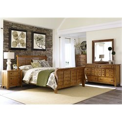 Grandpa's Cabin 5 Piece Sleigh Bedroom Set in Aged Oak DMCN