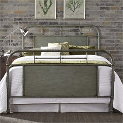 Vintage Metal Bed in Distressed Green