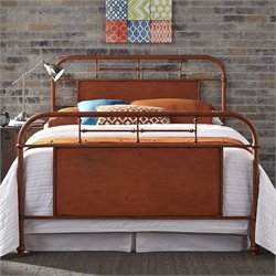 Vintage Metal Bed in Distressed Orange