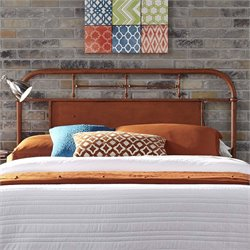 Vintage Metal Headboard in Distressed Orange