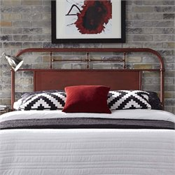 Vintage Metal Headboard in Distressed Red