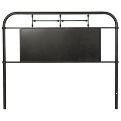 Vintage Metal Headboard in Distressed Black