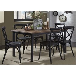 Vintage Metal Dining Set in Weathered Gray and Black