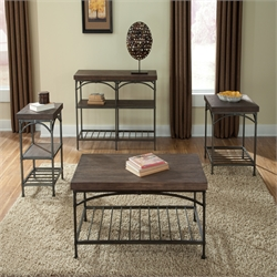 Liberty Furniture Franklin 3 Piece Coffee Table Set in Rustic Brown